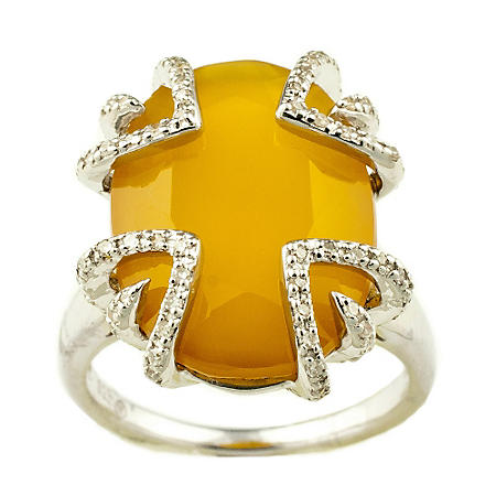Sweet Karats Yellow Agate and 0.25 ct. t.w. Diamond Ring