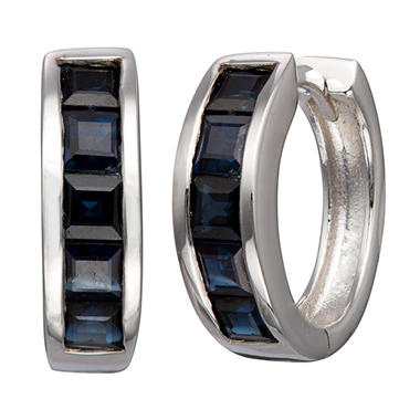 Natural Blue Sapphire Huggie Earrings in Sterling Silver