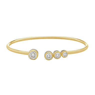 1/8 CT. T.W. Diamond Bangle in 14K Yellow Gold