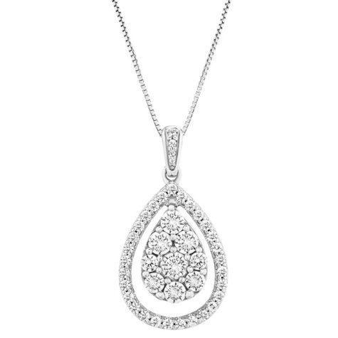 1 CT. T.W. Diamond Pendant in 14K White Gold