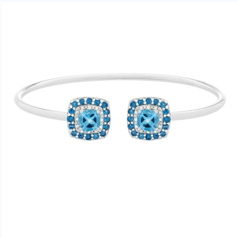 Swiss Blue Topaz Bangle in Sterling Silver