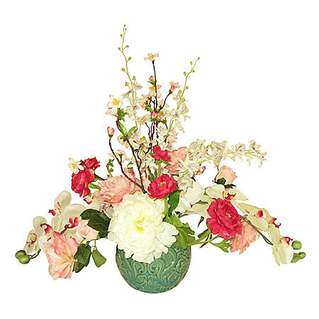 "24"" Faux Mixed Floral Arrangement in Decorative Ceramic Container"