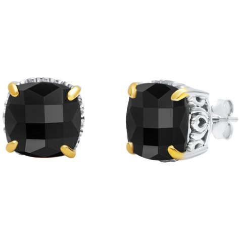 10MM Cushion-Cut Onyx Stud Earrings in Sterling Silver with 14K Yellow Gold