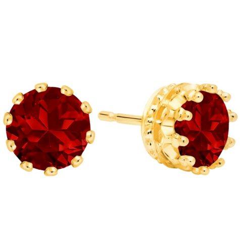 7MM Garnet Stud Earrings in 14K Gold