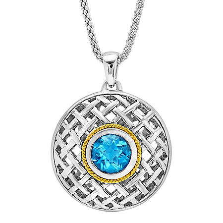 Sterling Silver with 14K Yellow Gold Textured Swiss Blue Topaz Pendant Necklace, 18""
