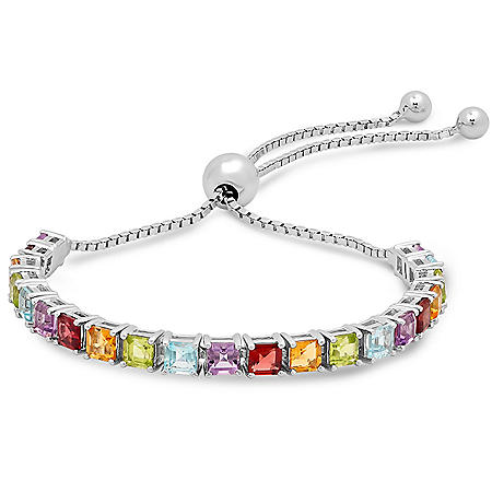 Sterling Silver Multi Princess Cut Gemstone Adjustable Bracelet