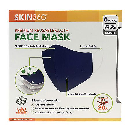 SKIN360 Premium Reuseable Cloth Face Mask, (6 pk.)