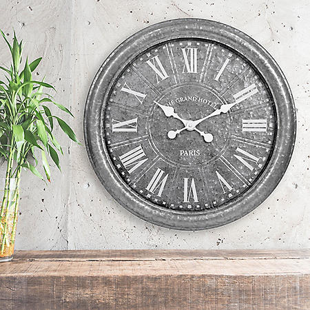 "27"" Galvanized Wall Clock (Assorted Colors)"