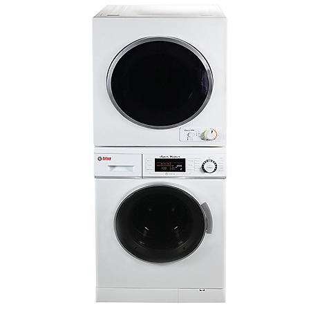 Stackable set of 1.6 cu.ft Compact Super Washer & 3.5 cu.ft Compact Short Dryer, White - GW 824 & GD 850