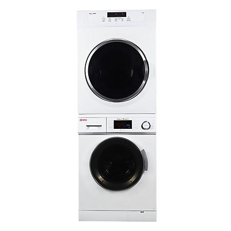 Stackable set of 1.6 cu.ft Compact Super Washer & 3.5 cu.ft Compact Standard Sensor Dryer, White - GW 824 & GD860V