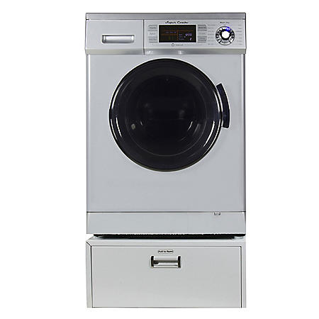 All-In-One Washer and Dryer Combo 13 lbs with Pedestal, Silver - GX4400CV S +PDL