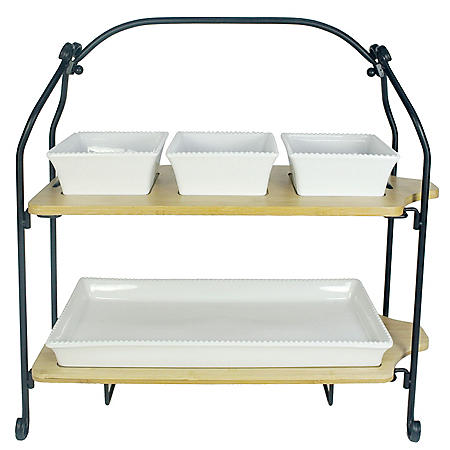 Stoneware and Bamboo 2-Tier Serveware Set