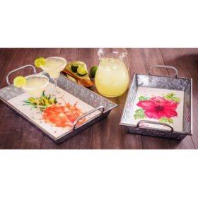 2-Piece Galvanized Tray Set