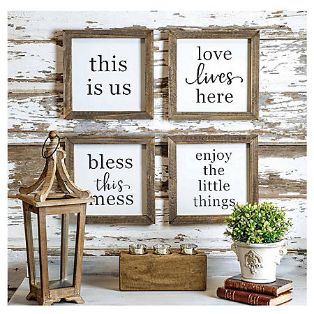 Set of 4 Rustic Wood Farmhouse Signs