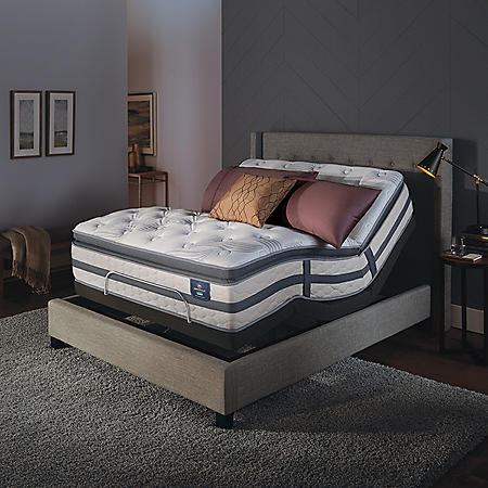 Serta Perfect Sleeper Luxury Hybrid Glenmoor Firm Pillow Top Mattress and Serta Motion Essentials Adjustable Foundation Mattress Set (Various Sizes)