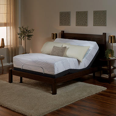 Serta Sleep Excellence Avesta II Firm Queen Mattress and Motion Essentials Adjustable Foundation