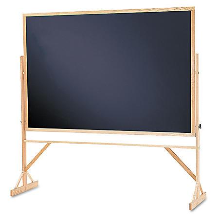 Quartet - Reversible Chalkboard, 72 x 48, Black Surface -  Oak Frame