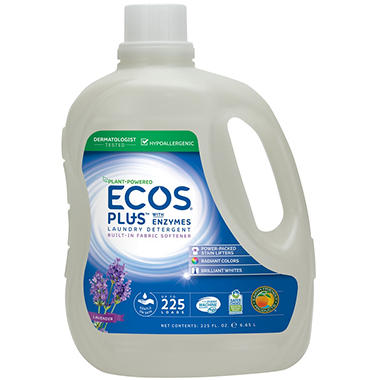 ecos plus laundry detergent with enzymes 225 he loads 225 fl oz
