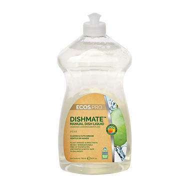 ECOS ProLine DishMate Manual Dishwashing Liquid, 25oz, Pear fragrance (6pk)