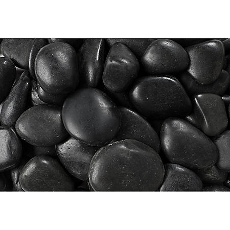 20 lb. Black Grade A Polished River Pebble 1-2in. (108-Pack Pallet)