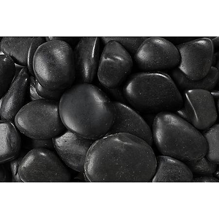 30 lb. Black Grade A Polished Pebble 1-2in.