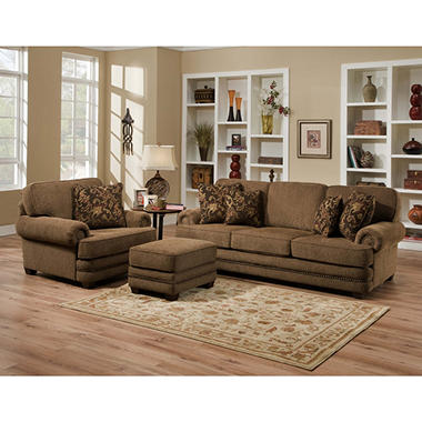 Avrey 3 Piece Fabric Sofa Set With Nailhead Trim