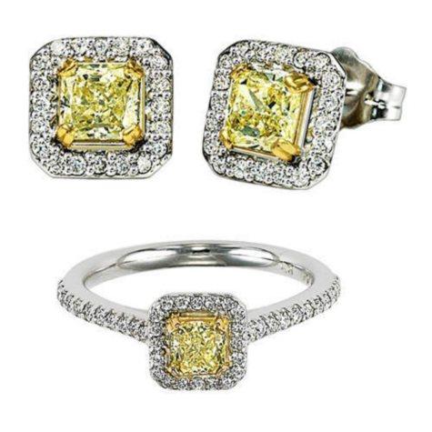 Yellow & White Diamond Earring & Ring Set
