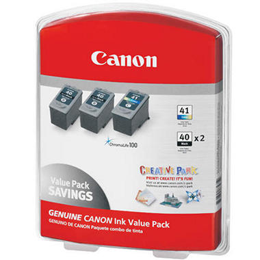 Canon PG-40/CL-41 Ink Tank Cartridge, Black/Tri-Color (3 pk.)