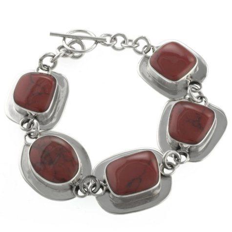 Sterling Silver and Red Jasper Bracelet