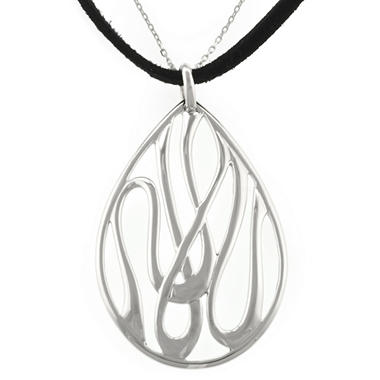 Sterling Silver Scroll Teardrop Slide Pendant