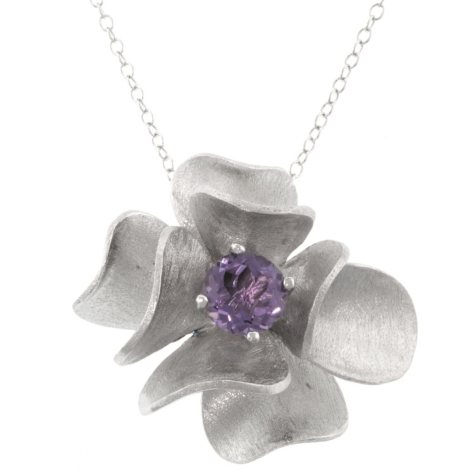 Sterling Silver Genuine Amethyst Flower Pendant