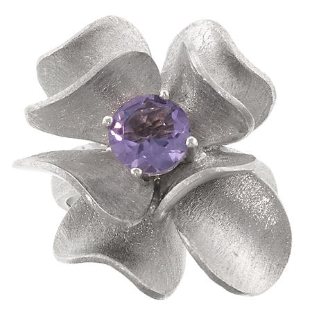 Sterling Silver Genuine Amethyst Flower Ring