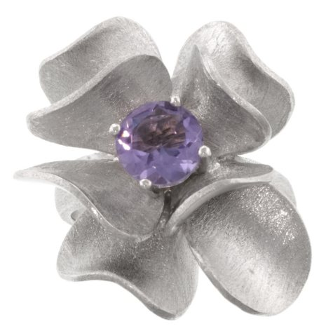 Sterling Silver Genuine Amethyst Flower Ring