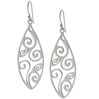 Sterling Silver Marquis Scroll Drop Earrings