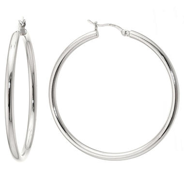 Sterling Silver Hoop Earrings - 40mm