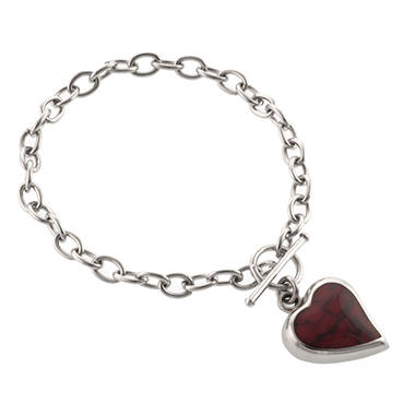 Lab Created Red Jasper Heart Bracelet in Sterling Silver
