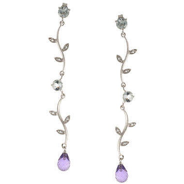 Sterling Silver Amethyst and White Topaz Linear Leaf Earrings