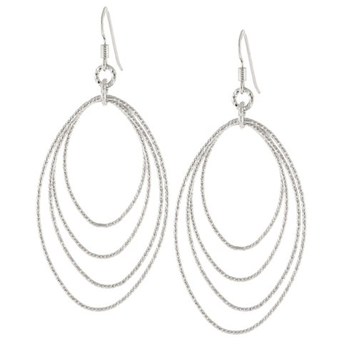 Sterling Silver Diamond-Cut Oval Drop Earrings
