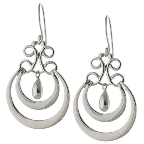 Sterling Silver Circle Drop Earrings with Bead