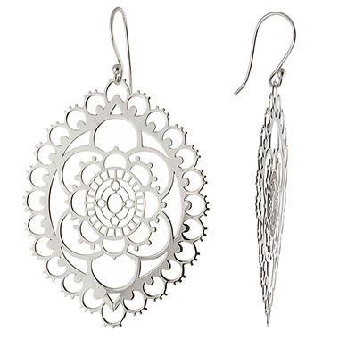 Sterling Silver Laser Cut Marquise Drop Earrings