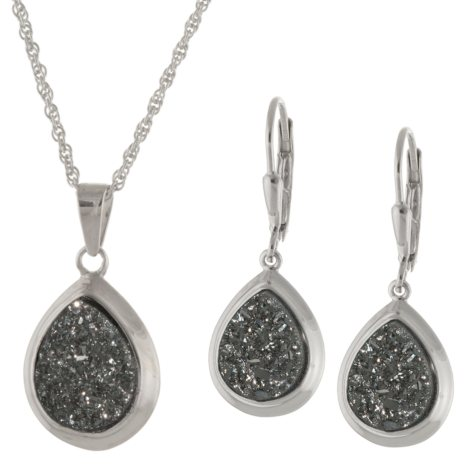 Sterling Silver Genuine Druzy Pendant & Earring Set