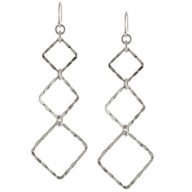 Sterling Silver Hammered Geometric Drop Earrings