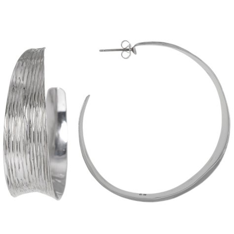 44mm Sterling Silver Textured Hoops