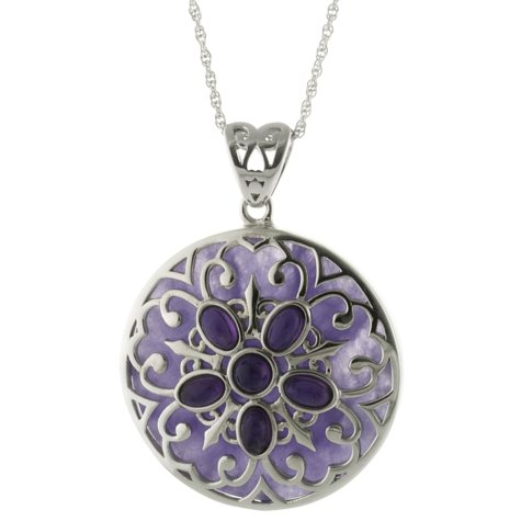Sterling Silver and Genuine Purple Jade and Amethyst Pendant