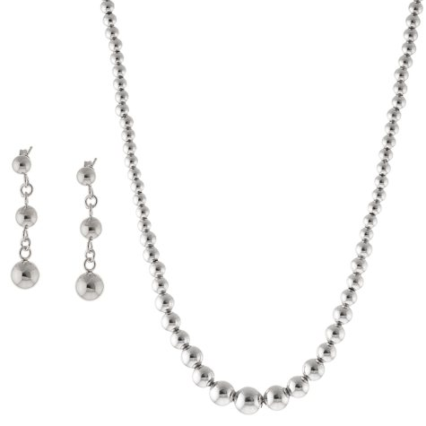 Sterling Silver Graduated Bead Necklace and Earring Set