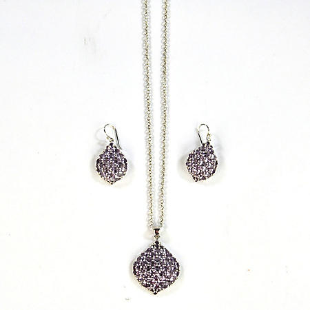 925 PENDANT&EAR SET GENUINE AMETHYST
