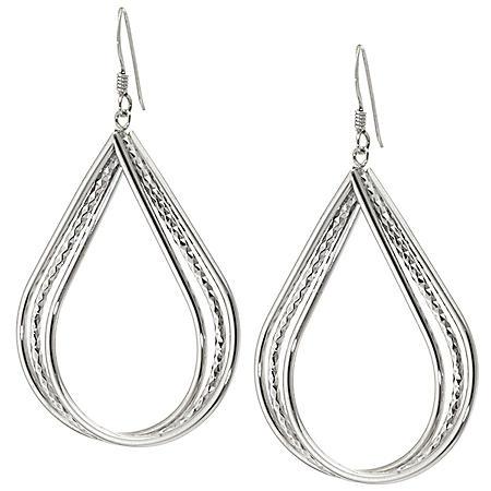 Sterling Silver Diamond Cut Triple Row Teardrop Earrings