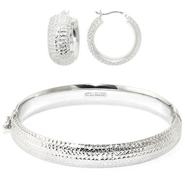 Diamond Cut Sterling Silver Bangle & Hoop Earring Set