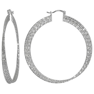 Sterling Silver 56mm Diamond Cut Hoop Earrings