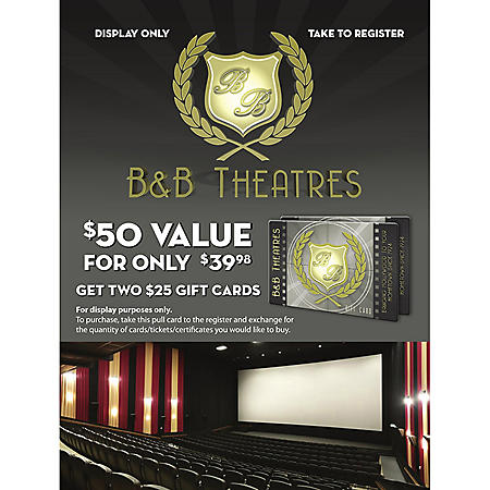 B&B Theatres $50 Value Gift Card - 2 x $25